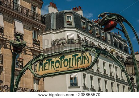 Paris, Northern France - July 08, 2017. Nouveau Style Arch Where Is Written