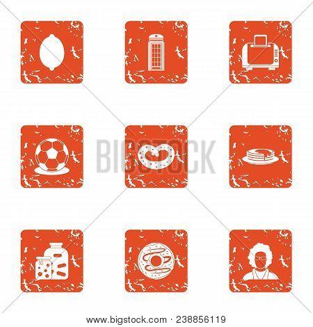 Office Entertainment Icons Set. Grunge Set Of 9 Office Entertainment Vector Icons For Web Isolated O
