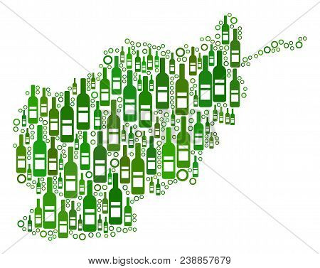 Afghanistan Map Mosaic Of Wine Bottles And Empty Circles In Various Sizes And Green Color Hues. Abst