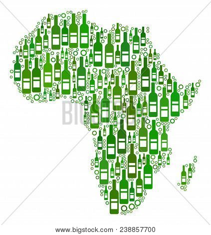 Africa Map Collage Of Alcohol Bottles And Round Bubbles In Variable Sizes And Green Color Shades. Ab