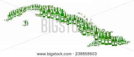 Cuba Map Collage Of Wine Bottles And Round Bubbles In Variable Sizes And Green Color Tones. Abstract