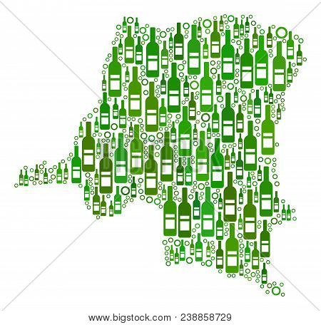 Democratic Republic Of The Congo Map Collage Of Wine Bottles And Circles In Various Sizes And Green
