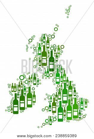 Great Britain And Ireland Map Mosaic Of Wine Bottles And Empty Circles In Various Sizes And Green Co