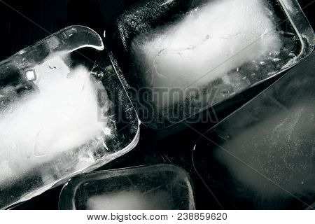 Ice block as background / Ice is water frozen into a solid state. Depending on the presence of impurities such as particles of soil or bubbles of air, it can appear transparent or a more or less opaque bluish-white color poster