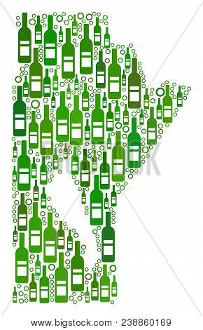 Manitoba Province Map Collage Of Wine Bottles And Round Bubbles In Various Sizes And Green Color Ton