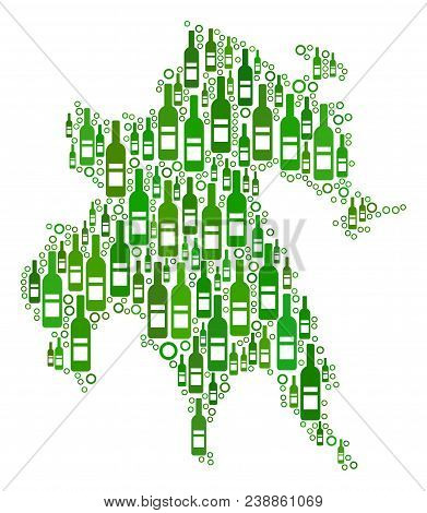 Peloponnese Half-island Map Collage Of Alcohol Bottles And Circles In Various Sizes And Green Color