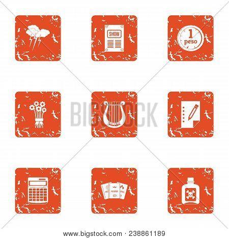Technical Documentation Icons Set. Grunge Set Of 9 Technical Documentation Vector Icons For Web Isol