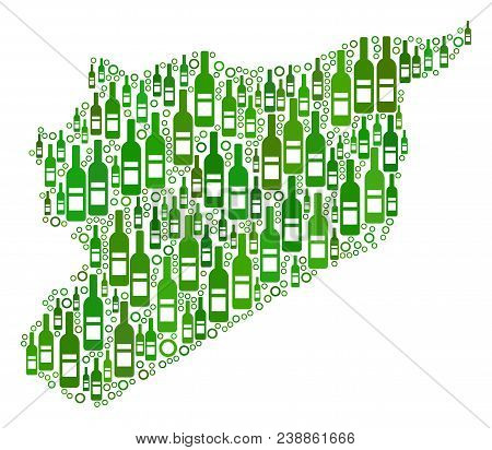 Syria Map Mosaic Of Alcohol Bottles And Spheric Bubbles In Different Sizes And Green Color Tints. Ab