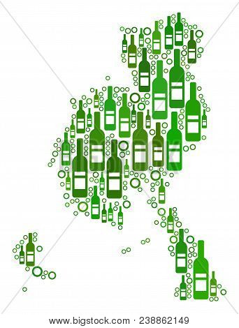 Veraguas Province Map Collage Of Wine Bottles And Circle Particles In Various Sizes And Green Color