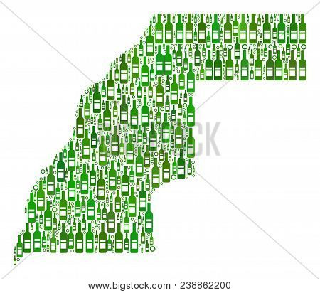 Western Sahara Map Collage Of Wine Bottles And Circle Bubbles In Variable Sizes And Green Color Tone