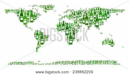 World Continent Map Mosaic Of Wine Bottles And Circle Bubbles In Different Sizes And Green Color Tin