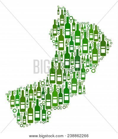 Yemen Map Collage Of Wine Bottles And Round Bubbles In Various Sizes And Green Color Shades. Abstrac