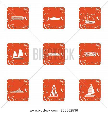 Technical Mean Icons Set. Grunge Set Of 9 Technical Mean Vector Icons For Web Isolated On White Back