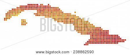 Dotted Fire Cuba Map. Vector Territorial Map In Bright Orange Color Tones On A White Background. Vec