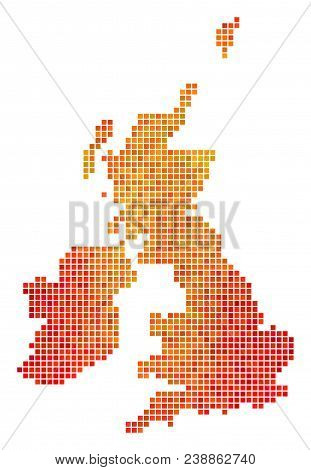 Pixel Orange Great Britain And Ireland Map. Vector Territory Map In Bright Orange Color Tones On A W