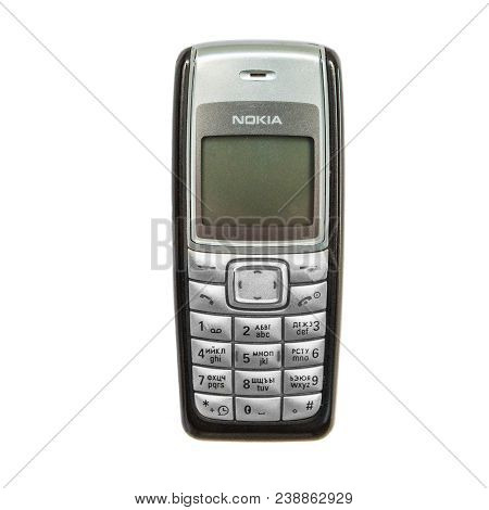 Artem, Primorsky, Russia - December 31, 2017: The Old Nokia 1110i Cell Phone Which Went On Sale In 2