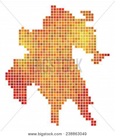 Dot Orange Peloponnese Half-island Map. Vector Geographic Map In Orange Color Tinges On A White Back