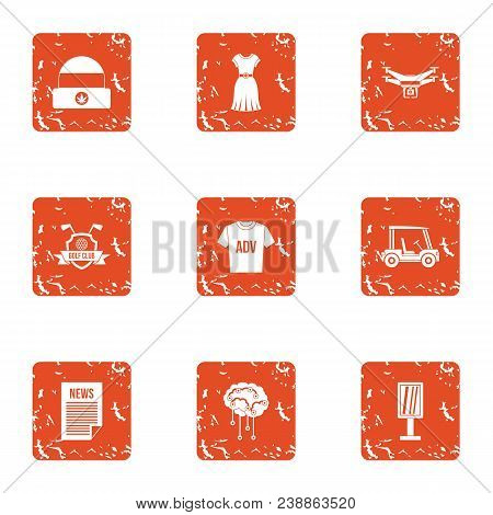 News Team Icons Set. Grunge Set Of 9 News Team Vector Icons For Web Isolated On White Background