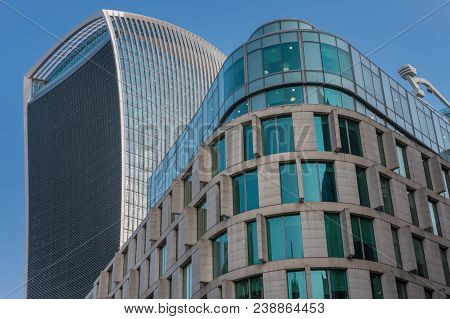 City Of London, London-september 7,2017: Plantation Place South, 9 Floor Office Building And Walkie
