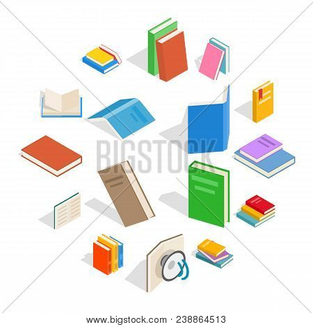 Isometric Book Icons Set. Universal Book Icons To Use For Web And Mobile Ui, Set Of Basic Book Eleme