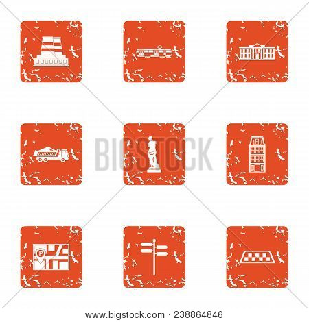 Urban Movement Icons Set. Grunge Set Of 9 Urban Movement Vector Icons For Web Isolated On White Back