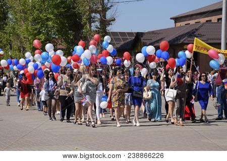 Slavyansk-on-kuban, Russia - May 1, 2018: Procession Of Students Of Medical College. Celebrating The
