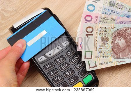 Paying With Contactless Credit Card With Nfc Technology And Polish Currency Money, Paying Using Cred