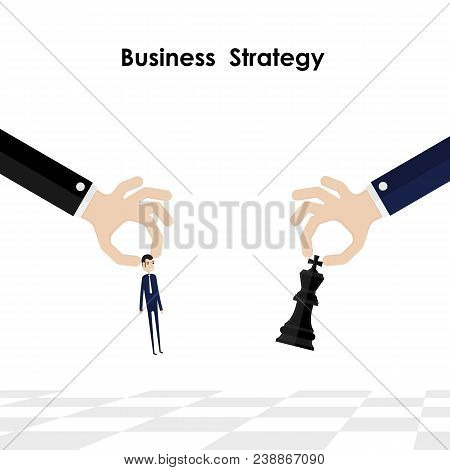 Businessman,hands And King Of Chess Symbol With Business And Marketing Strategy.businessman Hand Hol