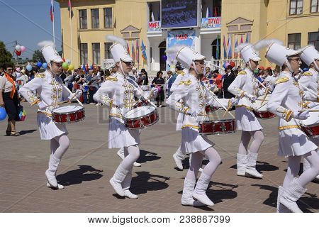 Slavyansk-on-kuban, Russia - May 1, 2018: Young Drummers On The May Day March. Celebrating The First