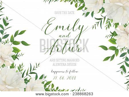 Wedding Floral Invite, Invitation, Save The Date Card Design. White Powder Garden Peony Rose Flowers