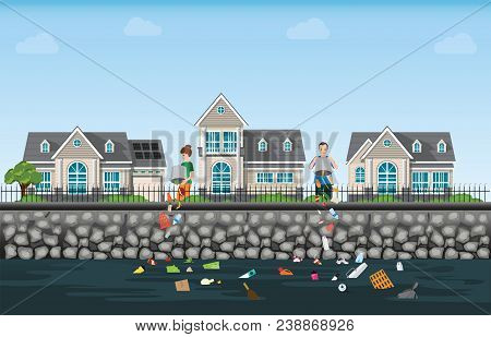 People Dumping Garbage Into The River On Modern House Village Background, Water Pollution Environmen
