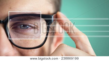 man with eye focus box detail over glasses and lines