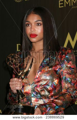 LOS ANGELES - APR 29:  Lori Harvey at the 45th Daytime Emmy Awards at the Pasadena Civic Auditorium on April 29, 2018 in Pasadena, CA