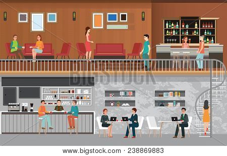 Modern Cafe Shop Interior, Coffee Shop And Interior Of Modern Bar ,decoration Style Flat Design Vect