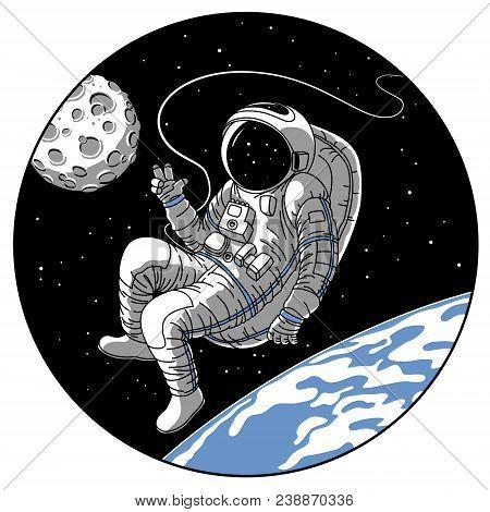 Astronaut Or Cosmonaut In Open Space Vector Illustration. Sketch Retro Design Of Astronaut In Space