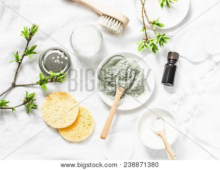 Dead Sea Mud Mask - Beauty Products Ingredients On Light Background, Top View. Beauty Concept. Flat