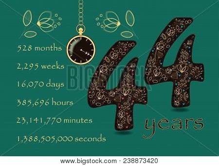 Time Counting Card. Number 44 And Pocket Watch
