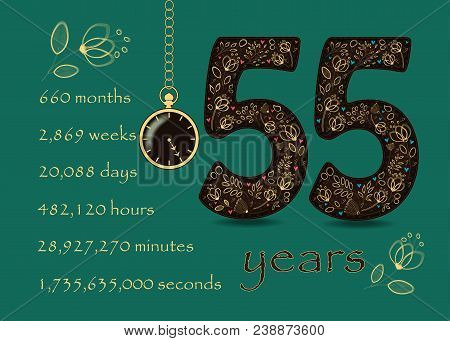Floral Card Number Fifty Five And Pocket Watch