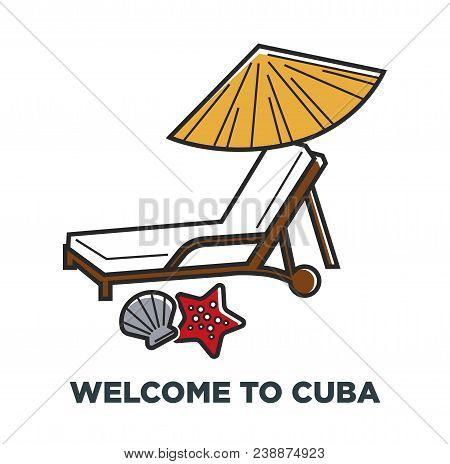 Cuba Travel Destination And Famous Culture Landmark Symbols. Vector Icons Of Cuban Havana Vacation A