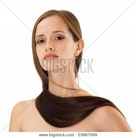Beautiful Young Woman With Long Hairs