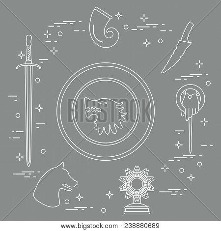 Symbols Of The Popular Fantasy Television Series. Art And Cinema Theme.