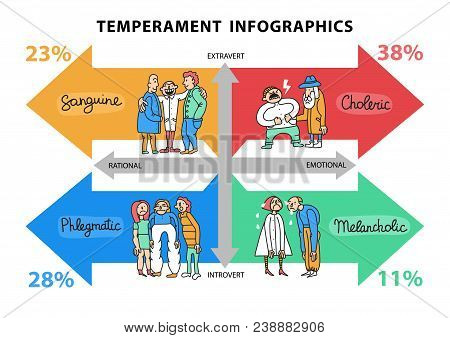 Temperament Types Hand Drawn Infographics With Data About Persons With Different Life Attitudes And