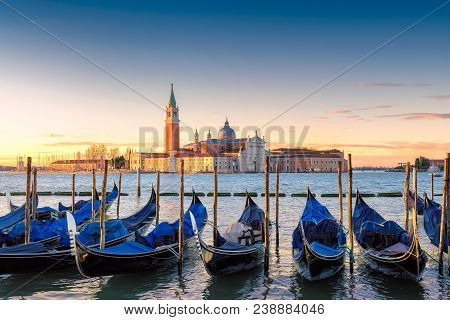 Venice Gondolas On San Marco Square At Sunrise, Grand Canal, Venice, Italy, Europe.