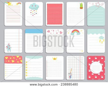 Kids Notebook Page Template Vector Cards, Notes, Stickers, Labels, Tags Paper Sheet With Unicorn Ill