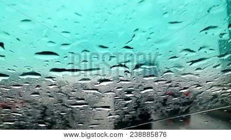 Heavy Rains Summer Months Of April Due To Summer Storms. Abstract Blur Of Rain Drops Falling On The