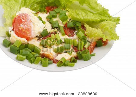 Omelette With Tomatoes And Lettuce