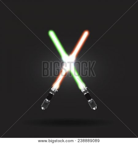 Light swords on the Dark Background. Eps10. Lightsaber on The Dark Background. Star wars. Light neon swords. Realistic lightsaber. Space Stars Background. Light swords on horizon. Star wars movie. Starstruck way. Space Star wars.