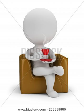 3d Small Person Drinks Coffee. 3d Image. White Background.