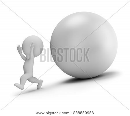 3d Small People - Runs Away From The Rolling Ball. 3d Image. White Background.