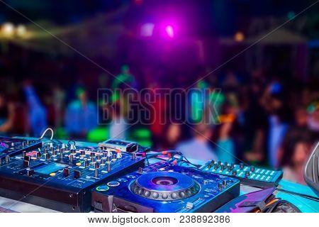 DJ console at the nightclub. Nightlife